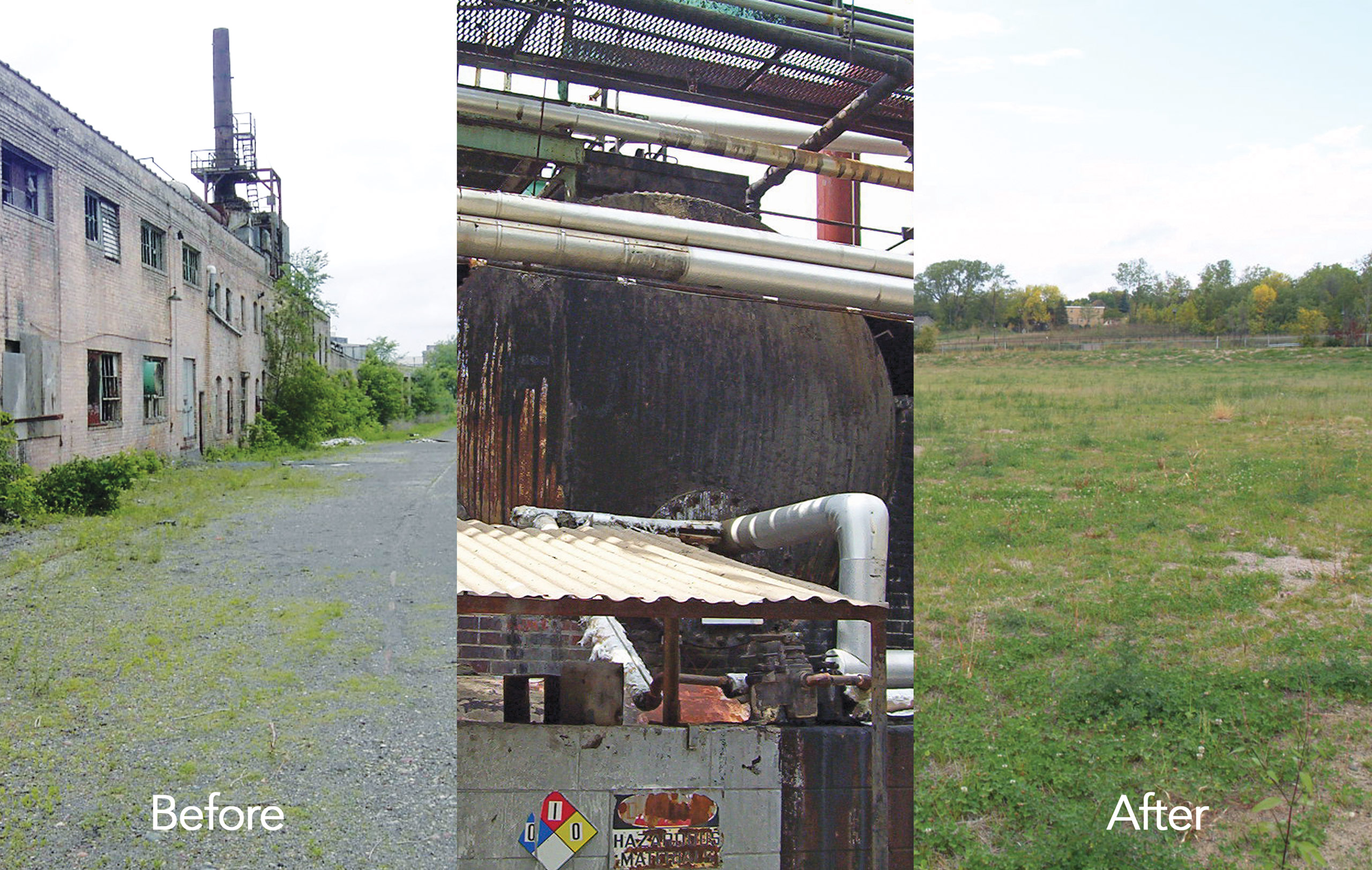 Before and After Globe Asphalt Shingle Plant Demolition and Remediation by Loucks in Minneapolis
