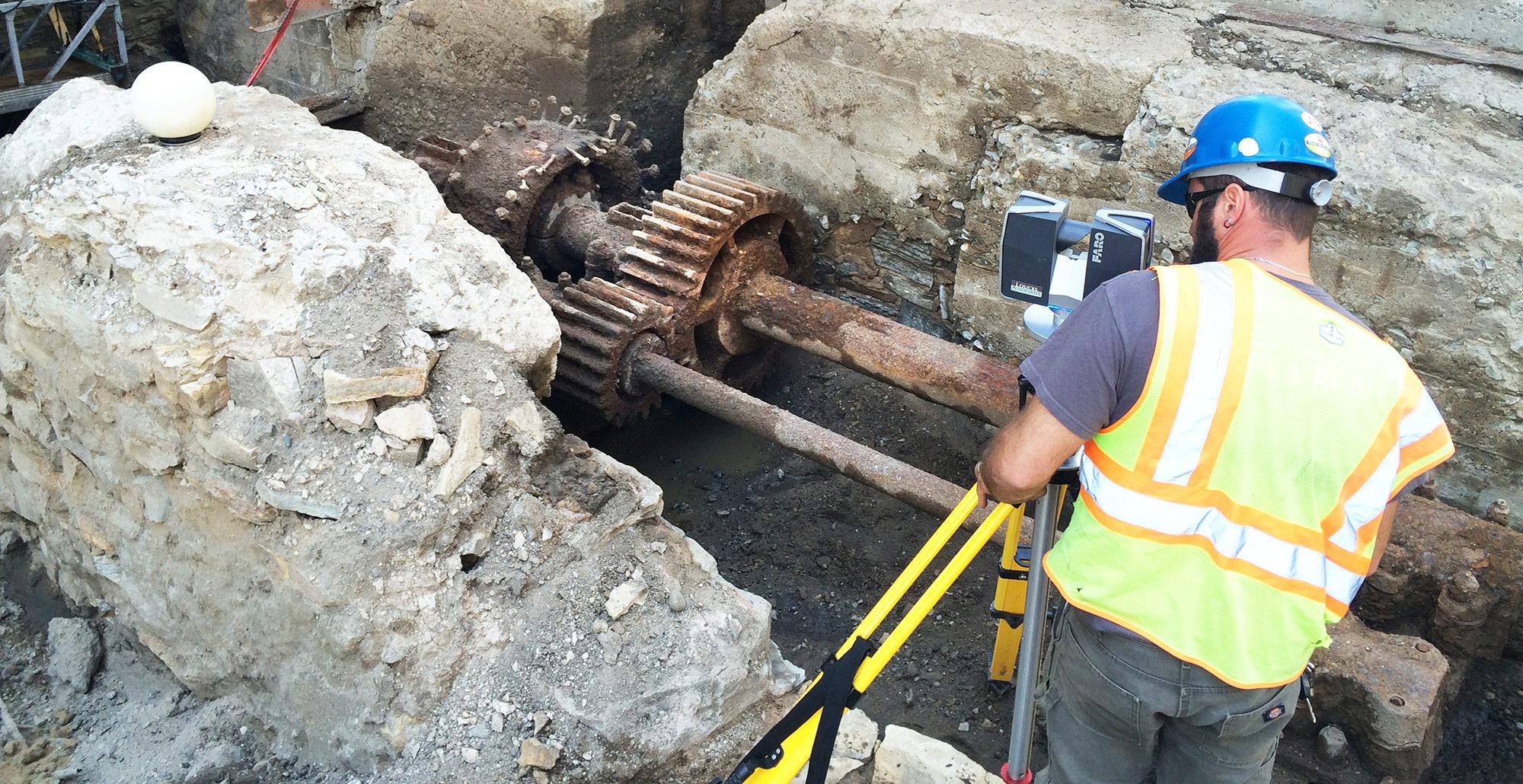 Loucks Employee Performing Land Surveying